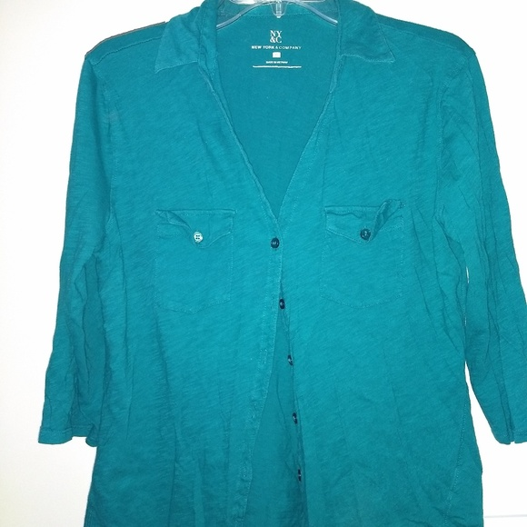 New York & Company Tops - Teal Button Down